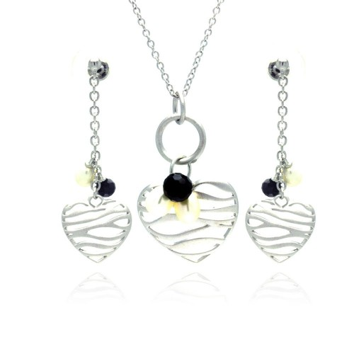 -Closeout- Wholesale Sterling Silver 925 Rhodium Plated Open Stripe Heart Fresh Water Pearl Black CZ Dangling Matching Set - BGS00137