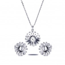 Wholesale Sterling Silver 925 Rhodium Plated Clear Baguette Flower CZ Stud Earring and Necklace Set - BGS00140