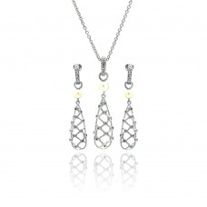 Sterling Silver Rhodium Plated Fishnet Drop Pearl Clear CZ Dangling Stud Earring & Dangling Necklace Set bgs00143