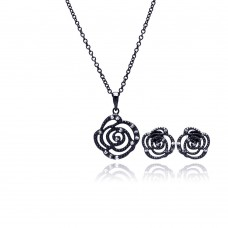 Wholesale Sterling Silver 925 Black Rhodium Plated Open Flower Rose Clear CZ Stud Earring and Necklace Set - BGS00146