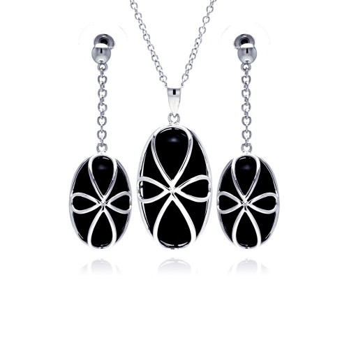 -CLOSEOUT- Wholesale Sterling Silver 925 Rhodium Plated Black Onyx Oval Script Cross Outline Dangling Stud Earring and Necklace Set - BGS00147