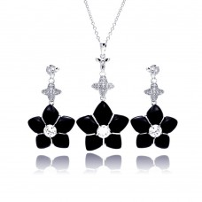 **Closeout** Wholesale Sterling Silver 925 Rhodium Plated Black Onyx Clear CZ Dangling Stud Earring and Dangling Necklace Set - BGS00149
