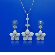 **Closeout** Wholesale Sterling Silver 925 Rhodium Plated White Onyx Clear Flower CZ Dangling Stud Earring and Necklace Set - BGS00150