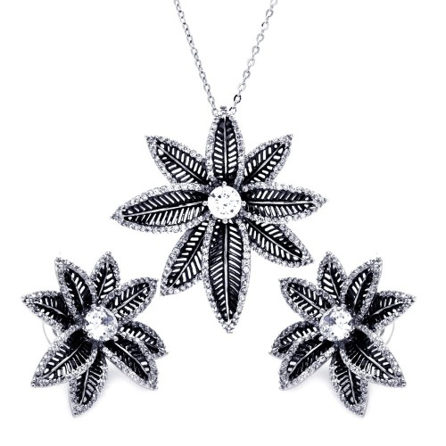 **Closeout** Wholesale Sterling Silver 925 Rhodium and Black Rhodium Plated Spiny Pointed Flower Clear CZ Stud Earring and Necklace Set - BGS00156
