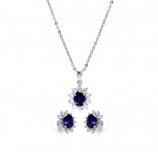 Wholesale Sterling Silver 925 Rhodium Plated Purple and Clear Cluster Flower CZ Stud Earring and Dangling Necklace Set - BGS00160