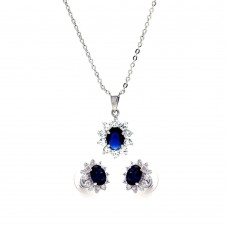 Wholesale Sterling Silver 925 Rhodium Plated Blue and Clear Cluster Flower CZ Stud Earring and Dangling Necklace Set - BGS00161