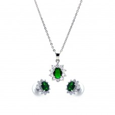 Wholesale Sterling Silver 925 Rhodium Plated Green and Clear Cluster Flower CZ Stud Earring and Dangling Necklace Set - BGS00162