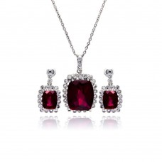 Wholesale Sterling Silver 925 Rhodium Plated Red and Clear Rectangular CZ Dangling Stud Earring and Dangling Necklace Set - BGS00163