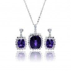 Wholesale Sterling Silver 925 Rhodium Plated Purple and Clear Rectangular CZ Dangling Stud Earring and Necklace Set - BGS00164