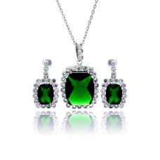Wholesale Sterling Silver 925 Rhodium Plated Green and Clear Rectangular CZ Dangling Stud Earring and Necklace Set - BGS00166