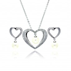 Wholesale Sterling Silver 925 Rhodium Plated Hanging Pearl Open Heart Clear CZ Stud Earring and Necklace Set - BGS00167