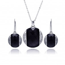 **Closeout** Wholesale Sterling Silver 925 Rhodium Plated Black Onyx Clear Disc CZ Leverback Earring and Necklace Set - BGS00168