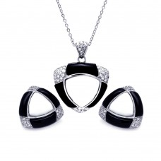 **Closeout** Sterling Silver Rhodium Plated Black & White Onyx Triangle Clear CZ Stud Earring & Necklace Set bgs00170