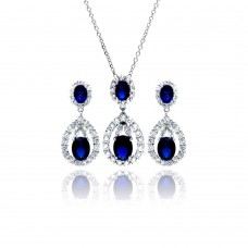 Wholesale Sterling Silver 925 Rhodium Plated Blue and Clear Teardrop CZ Hanging Stud Earring and Necklace Set - BGS00171
