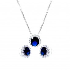Wholesale Sterling Silver 925 Rhodium Plated Blue and Clear Cluster Oval CZ Stud Earring and Necklace Set - BGS00172