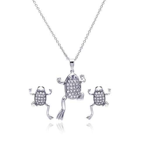 Wholesale Sterling Silver 925 Rhodium Plated Clear Climbing Frog CZ Stud Earring and Necklace Set - BGS00173