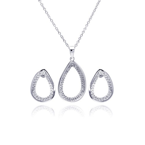 Wholesale Sterling Silver 925 Rhodium Plated Clear Open Teardrop CZ Stud Earring and Necklace Set - BGS00175