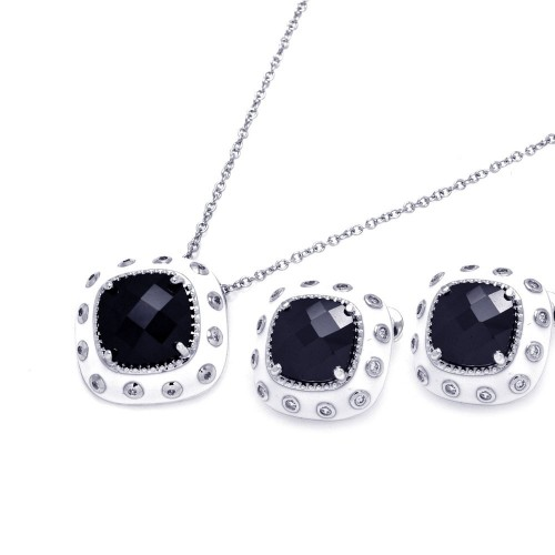 -Closeout- Wholesale Sterling Silver 925 Rhodium Plated White Enamel Black and Clear Square CZ Stud Earring and Necklace Set - BGS00176