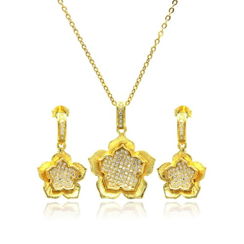Wholesale Sterling Silver 925 Gold Plated Clear Flower CZ Hanging Stud Earring and Necklace Set - BGS00177