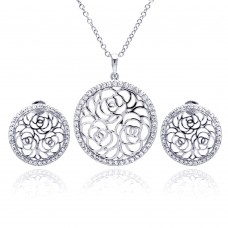 Wholesale Sterling Silver 925 Rhodium Plated Flower Rose Outline Circle Clear CZ Stud Earring and Necklace Set - BGS00178