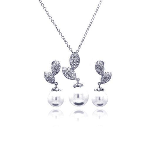 Wholesale Sterling Silver 925 Rhodium Plated Pearl Sprout Clear CZ Hanging Stud Earring and Hanging Necklace Set - BGS00179
