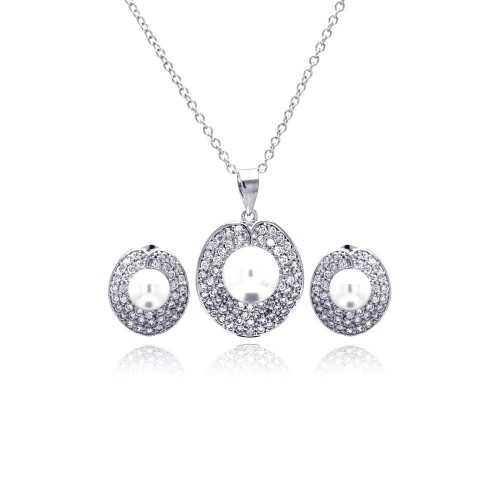 Wholesale Sterling Silver 925 Rhodium Plated Pearl Round Disc Clear Pave Set CZ Stud Earring and Necklace Set - BGS00180