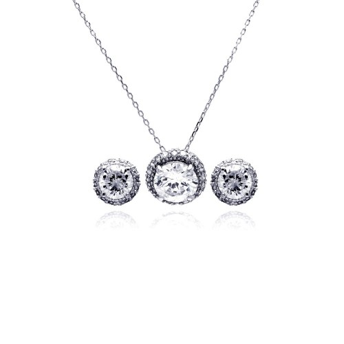 Wholesale Sterling Silver 925 Rhodium Plated Clear Round Circle CZ Stud Earring and Necklace Set - BGS00183