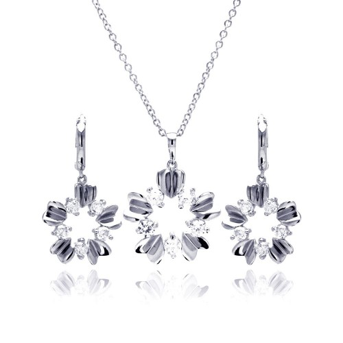 Sterling Silver Rhodium Plated High Polish Flower Clear CZ Leverback Earring & Necklace Set bgs00209