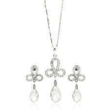 Sterling Silver Rhodium Plated Clear Ribbon CZ Hanging Stud Earring & Necklace Set bgs00211