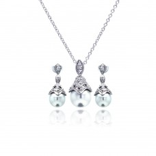 Wholesale Sterling Silver 925 Rhodium Plated Pearl Drop Clear CZ Dangling Stud Earring and Necklace Set - BGS00212