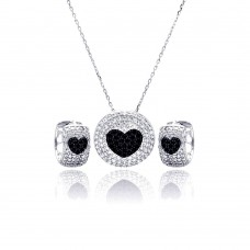 Wholesale Sterling Silver 925 Rhodium and Black Rhodium Plated Clear and Black Heart Disc Rectangle CZ Hoop Earring and Necklace Set - BGS00214