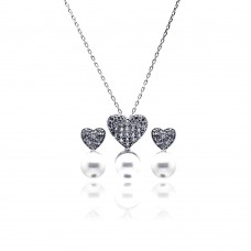 Wholesale Sterling Silver 925 Rhodium Plated Pearl Clear Heart CZ Hanging Stud Earring and Hanging Necklace Set - BGS00217