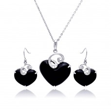 **Closeout** Wholesale Sterling Silver 925 Rhodium Plated Black Onyx Heart Clear Wave CZ Hook Earring and Hanging Necklace Set - BGS00218