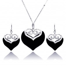 **Closeout** Wholesale Sterling Silver 925 Rhodium Plated Black Onyx Clear Double Heart CZ Hook Earring and Necklace Set - BGS00219