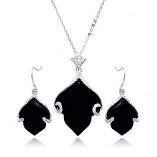 **Closeout** Wholesale Sterling Silver 925 Rhodium Plated Black Onyx Leaf Clear CZ Hook Earring and Dangling Necklace Set - BGS00220
