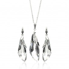 Sterling Silver Rhodium Plated Clear Drop CZ Hook Earring & Necklace Set bgs00221clr