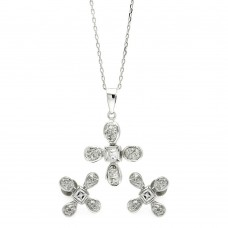 Wholesale Sterling Silver 925 Rhodium Plated Clear Flower CZ Stud Earring and Necklace Set - BGS00223