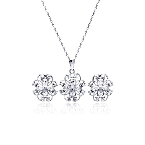 Wholesale Sterling Silver 925 Rhodium Plated Flower Outline Clear CZ Stud Earring and Necklace Set - BGS00224