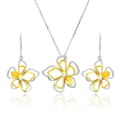 Wholesale Sterling Silver 925 Rhodium and Gold Plated Open Flower Outline Clear CZ Hook Earring and Necklace Set - BGS00225