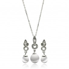 Wholesale Sterling Silver 925 Rhodium Plated Pearl Clear CZ Hanging Stud Earring and Necklace Set - BGS00226