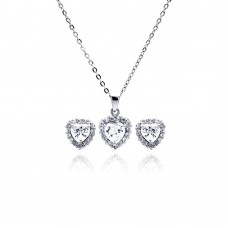 Wholesale Sterling Silver 925 Rhodium Plated Heart Clear CZ Stud Earring and Necklace Set - BGS00228