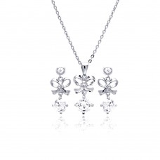 Wholesale Sterling Silver 925 Rhodium Plated Clear Blow CZ Hanging Stud Earring and Necklace Set - BGS00229