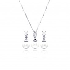 Wholesale Sterling Silver 925 Rhodium Plated Pearl Clear CZ Hanging Stud Earring and Necklace Set - BGS00230