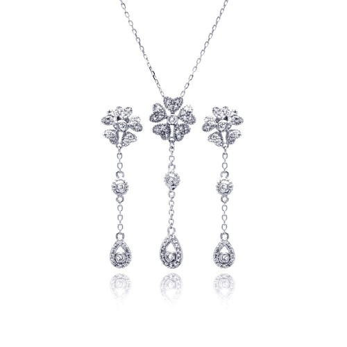 Wholesale Sterling Silver 925 Rhodium Plated Clear Teardrop Flower CZ Dangling Stud Earring and Dangling Necklace Set - BGS00231