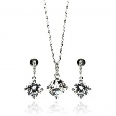 Sterling Silver Rhodium Plated Clear Round CZ Dangling Stud Earring & Necklace Set bgs00241