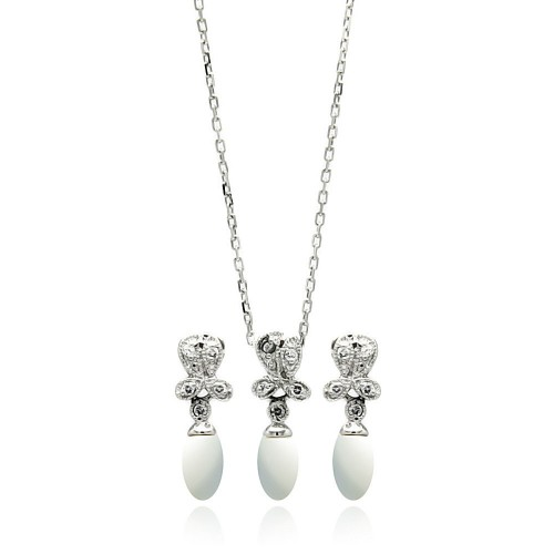 Wholesale Sterling Silver 925 Rhodium Plated Fresh Water Pearl Flower Clear CZ Hanging Set - BGS00242