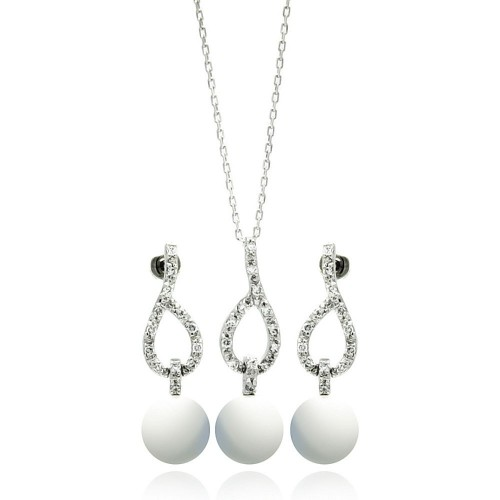 Wholesale Sterling Silver 925 Rhodium Plated Pearl Clear Open Teardrop CZ Dangling Stud Earring and Dangling Necklace Set - BGS00243