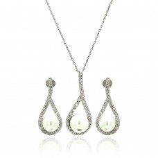 Wholesale Sterling Silver 925 Rhodium Plated Pearl Open Teardrop Clear Pave Set CZ Hanging Stud Earring and Necklace Set - BGS00249