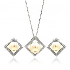 Wholesale Sterling Silver 925 Rhodium Plated Fresh Water Pearl Square Diamond Shaped Clear CZ Set -  BGS00250