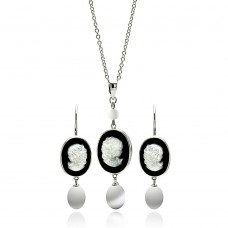 Wholesale Sterling Silver 925 Rhodium Plated Black Onyx Mother of Pearl Woman Portrait Figure Face Hook Set - BGS00251